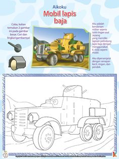 Mewarnai Tank Ringan Mobil Lapis Baja Aikoku | Ebook Anak
