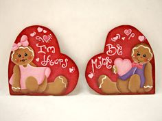Be Mine, I'm Yours,  Item #HHG274, Gingerbread Fridge Magnets/and or Shelf Sitters, ByBrendasHand, Sweetheart Magnets, Gingerbread Decor