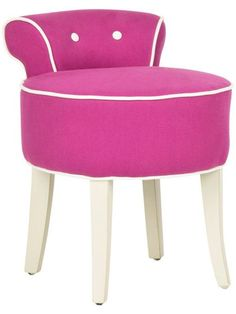 - Safavieh Georgia Fuchsia Vanity Stool - The adorable Georgia vanity chair is petite enough to tuck in a bathroom or bedroom and brimming with feminine style. Graceful birch wood legs finished in ivory, a deep seat and a diminutive button-tuft Purple Furniture, Colorful Furniture, Dream Furniture, Furniture Ideas, Furniture Design, Vanity Stool, Wood Vanity, Vanity Chairs, Vanity Mirrors