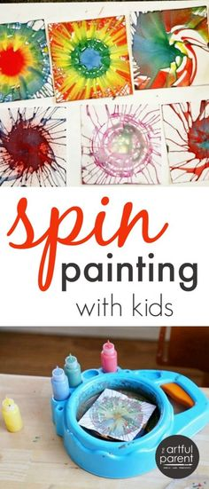 Art therapy activities for kids Spin painting is a favorite kids art activity that can be done with a salad spinner or with a kids spin art machine. A comparison of the two methods plus ideas for what to do with all the spin art. via TheArtfulParent Art Activities For Toddlers, Painting Activities, Art Therapy Activities, Craft Activities, Summer Activities, Easy Art For Kids, Crafts For Kids To Make, Projects For Kids, Kids Crafts