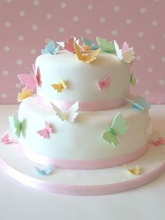 Celebration cakes for a christening, anniversary, birthday or bar mitzvah. Beautiful wedding cakes, celebration cakes & cupcakes for all occasions across London and Hertfordshire. Butterfly Birthday Cakes, Baby Birthday Cakes, Butterfly Cakes, Birthday Ideas, Happy Birthday, Fondant Cakes, Cupcake Cakes, Food Cakes, Pretty Cakes