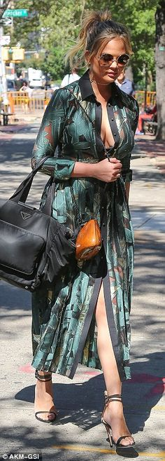 02ae136824 Chrissy Teigen dons plunging maxi dress for family lunch