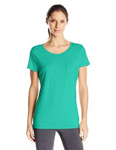 Hanes Women's Short Sleeve Pocket Tee, Breezy Green, X-Large   Special Offer: $10.00      155 Reviews Hanes women's lightweight short sleeve pocket tee is made with soft, lightweight cotton-blend fabric. Patch pocket on left chest.Short-sleeve tee with scoop neckline featuring...