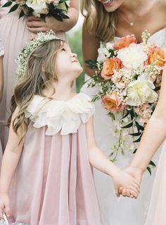 Adorable flower girl dress + flower crown: http://www.stylemepretty.com/2015/12/17/whimsical-kansas-city-outdoor-wedding/ | Photography: Brett Heidebrecht - http://brettheidebrecht.com/