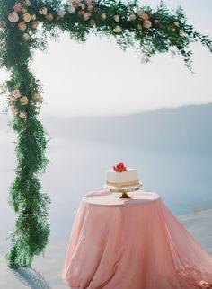 Wedding Cake by Alexandra's cakes in Santorini Gorgeous Cakes, Pretty Cakes, Santorini Wedding, Destination Wedding Photographer, Flower Designs, Summer Wedding, Wedding Cakes, Floral Design, Flowers