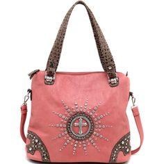 Women's Western Rhinestone Studded Tote Bag with Croco Trim & Cross Accent -  - fashlets.com