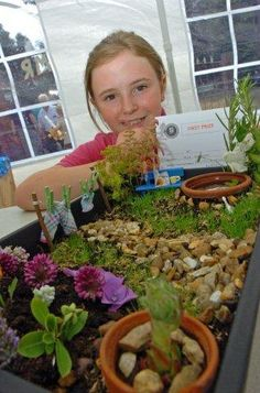 First prize winner of miniature garden design. Landscape architect in the making Talking Animals, Fairy Crafts, Fairy Princesses, Miniature Fairy Gardens, Fairies, Garden Design, Miniatures, Landscape, Faeries
