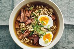 An easy slow cooker recipe for pork ramen. For this recipe you will need pork shoulder, ginger, chicken broth, mushrooms, and fresh ramen noodles.