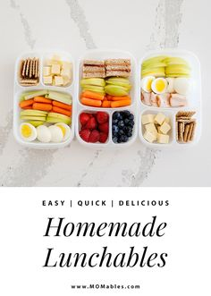 These homemade lunchable ideas are filled with delicious and healthier options for better lunches that are just as fun to assemble. Lunch Recipes, Easy Dinner Recipes, Real Food Recipes, Easy Meals, Easy Lunch Boxes, Lunch Ideas, Meal Ideas, Healthy School Lunches, Healthy Snacks