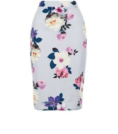 I want a bright floral pencil skirt  Petite Purple Floral Print Midi Skirt  | New Look