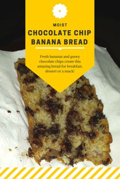 This Chocolate Chip Banana Bread recipe is so delicious that everyone will love it! It's so incredibly moist and really hits the spot whether it's for breakfast, dessert, or a snack! Choc Chip Banana Bread, Moist Banana Bread, Banana And Chocolate Chip Cake, Chocolate Muffins, Chocolate Chip Recipes, Banana Bread Recipes, Delicious Desserts, Dessert Recipes, Yummy Food