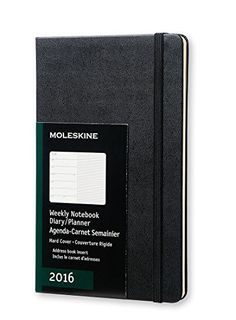 Moleskine 2016 Weekly Notebook, 12M, Large, Black, Hard Cover (5 x 8.25) by Moleskine $16.06