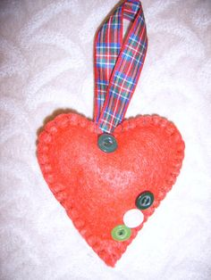 Red Felt Valentines Heart by CosyCatCrafts on Etsy, £5.00