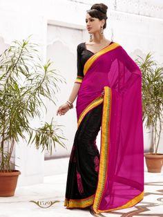 half and half black #velvet with bright pink #georgette having yellow border #designersaree