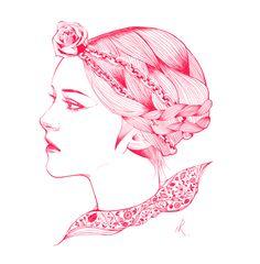 일러스트 라인아트 illustration girl line art 패턴 pattern