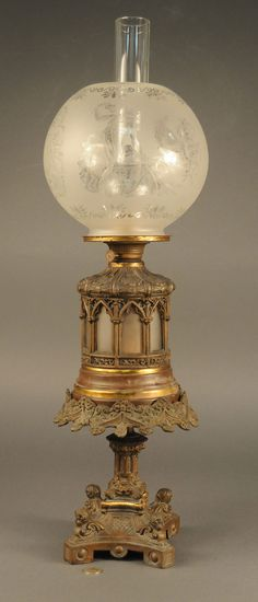 ❤ -Rare Victorian Oil Lamp With Etched Glass Ball Shade