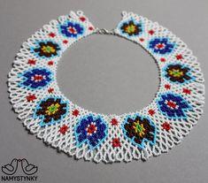 Ukrainian traditional necklace White Beaded necklace Collar | Etsy Seed Bead Necklace, Boho Necklace, Collar Necklace, Beaded Earrings, Seed Beads, Beaded Jewelry, Crochet Earrings, Native American Earrings, Handmade Necklaces