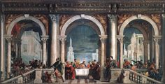 """Feast in the House of Levi Paolo Veronese 1573  This great painting, which was taken to Paris by Napoleon and then returned in 1815, was originally a """"Last Supper"""" for the refectory of the convent of Santi Giovanni e Paolo as a replacement for a """"Last Supper"""" by Titian"""