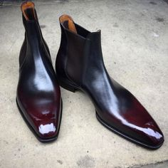 """What a sleek Chelsea boot! The """"Burnham"""" on the square Deco last. Made to Order with a reverse Margaux patina. Ankle Boots Men, Mens Shoes Boots, Mens Boots Fashion, Leather Boots, Shoe Boots, Botas Chelsea, Chelsea Boots, Gents Shoes, Gentleman Shoes"""