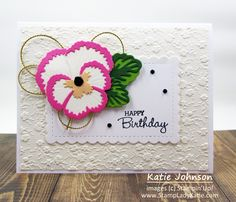 Birthday Cards, Happy Birthday, Flower Center, Blog Images, Embossing Folder, Pansies, Stampin Up, Paper Crafts, Christmas Ornaments