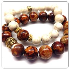 Set of Two bracelets, Fired Agate, Chocolate Brown Leopard Skin bead bracelet and Natural howlite bead bracelet  on Etsy, $24.00