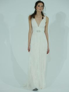 Claire Pettibone plunging neckline wedding dress with jeweled waist from Spring 2016