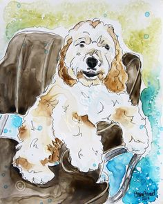 CUSTOM MIXED MEDIA SKETCHES / PET PORTRAITS / DOGS / watercolor with pen and ink on YUPO paper by Shaina Kay Stinard - Artist.  www.shainastinardartist.com   Making your photos a work of art!  'Blodie' - 8 x 10 mixed media sketch on YUPO paper, memorial portrait