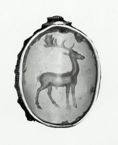 Scaraboid gem with standing stag | Greek, Classical Period, 5th century B.C. chalcedony Length: 28 mm