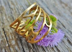 Yellow gold Cicada Wing Ring by Studio Swoon