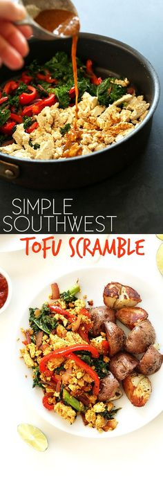 EASY 10 ingredient Tofu Scramble with loads of veggies and southwest flavor. Just 30 minutes! #vegan #glutenfree