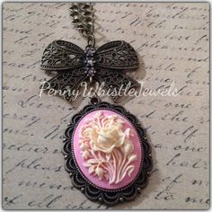 Pink Cameo Necklace, Flower Cameo Necklace, Bow Necklace, Bronze Necklace