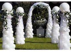 Balloon column and arch path.  #balloon-arch #balloon-decor #balloon-wedding-decor #balloon-entryway