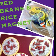 RED BEANS AND RICE MAGNET...Louisiana/Mardi Gras themed craft for kids and teachers! 1. Collect lids off small plastic containers and attach magnet to the back (Blue Bell ice cream tops shown in pic). 2. Mix uncooked rice and Elmer's glue in a bowl and scoop onto the top of the lid.  3. Add some dry red beans and Bon Appetite!