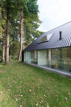 Floor to ceiling glass house