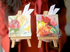 Art favor on the table in Ideas of planning, organizing and decorating weddings