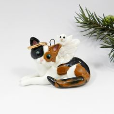 Your place to buy and sell all things handmade Cat Christmas Ornaments, Christmas Angels, Hand Sculpture, Porcelain Clay, Catio, Animal Rescue, Fur Babies, Dog Cat, Kitty