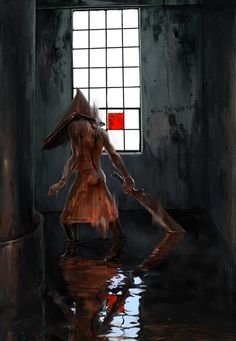 Pyramid Head is really cool. He is from Silent Hill. this is one super scary gory anime wallpaper.