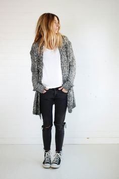 cardigan, white tee, black jeans, converse