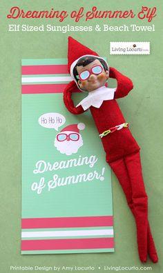 Christmas Elf Sunglasses and Santa Beach Towel Printables. Fun paper printable idea for your Christmas elf! Kids will love this fun surprise. Christmas In July, Christmas Elf, Holiday Fun, Xmas, Holiday Ideas, Jolly Holiday, Christmas Carol, Holiday Decor, Christmas Decor
