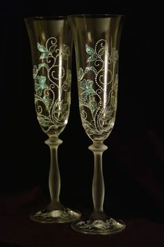 Etched and Hand Painted Crystal Champagne Flutes - Wedding Or Gift Champagne Flutes - Set of TWO