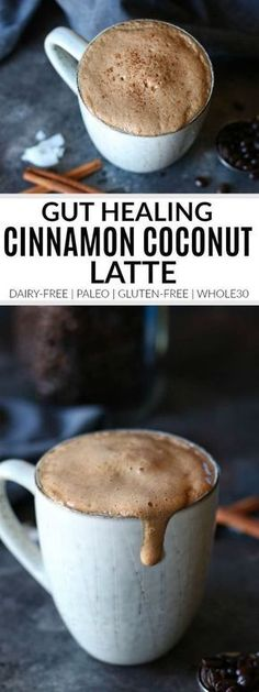 Gut Healing Cinnamon Coconut Latte | dairy-free latte | paleo latte | whole30 latte | gluten-free latte | whole30 drink recipes | healthy latte recipes || The Real Food Dietitians #whole30latte #healthylatte #glutenfreedrinks