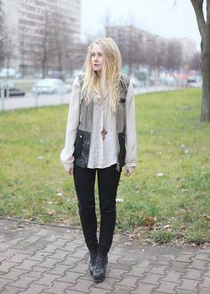 Shop this look on Kaleidoscope (vest, blouse, jeans, bootie, necklace)  http://kalei.do/WTV3qV1eQrRXTC3c