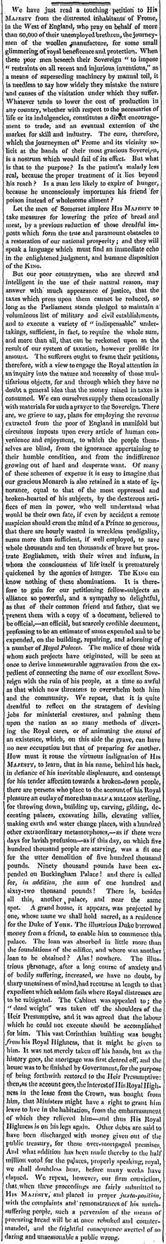 10 Oct 1826: Frome, a Contrast: Petition to the King and the Royal Building (10 Oct 1826)