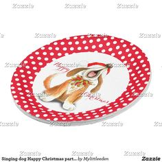 Singing dog Happy Christmas party paper plate