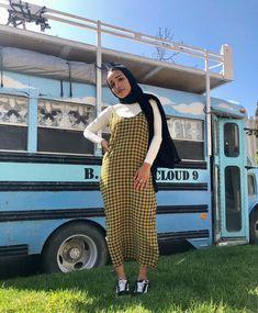 Hijab + Yellow Plaid (_rads) Muslim Women Fashion, Modern Hijab Fashion, Street Hijab Fashion, Modest Fashion, Hijab Fashion Summer, Hijab Fashion Inspiration, Fashion Outfits, Hijab Style Dress, Hijab Outfit
