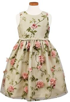 Girl's Sorbet Burnout Fit & Flare Dress - Pink rose appliques add lovely dimension to the vined flowers that define this sleeveless burnout dress in a sweet fit-and-flare silhouette.  - [ad]