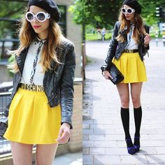 Discover this look wearing Black Floral Shirts, Shoes, Denim Shorts, Sunglasses - This is not a drive by by IoanaLina styled for Casual, Casual Party in the Summer Moschino Belt, Fade Styles, Casual Party, Wearing Black, Skater Skirt, Street Style, Style Inspiration, Yellow, My Style