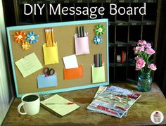 Craft for the office — DIY Message Board from #Walmart mom Liz  Hoosier Homemade.