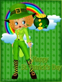 Blonde haired Betty Boop dressed as a leprechaun and a rainbow with a pot of gold at the end of it Created by Lora Boop Gif, Betty Boop Cartoon, Best Cartoons Ever, Gifs, Betty Boop Pictures, Felix The Cats, Happy St Patricks Day, Leprechaun, Cartoon Characters
