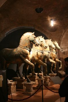 The Horses of St. Mark were installed on the basilica in about The horses were long displayed at the Hippodrome of Constantinople, and in 1204 Doge Enrico Dandolo (cruel man but great politician) sent them back to Venice as part of the loot sacked f Venice Tours, Venice Travel, Italy Travel, Rome Florence, Saint Mark's Basilica, Italy Tours, Italy Trip, Italy Vacation, Vacation Spots